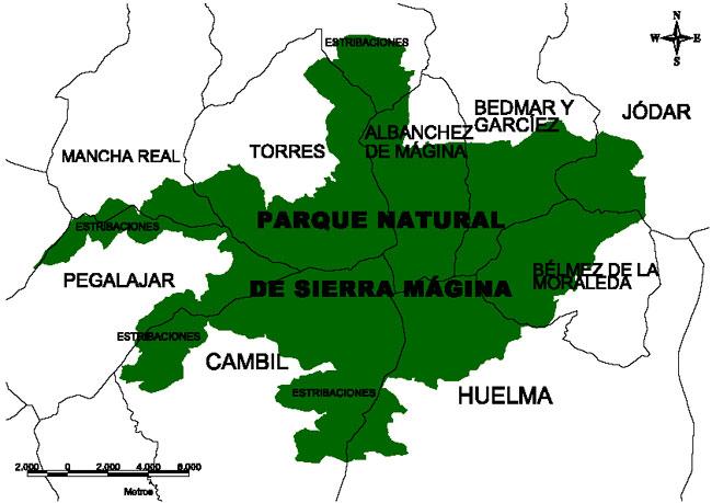 Mapa Parque Natural de Sierra Mágina